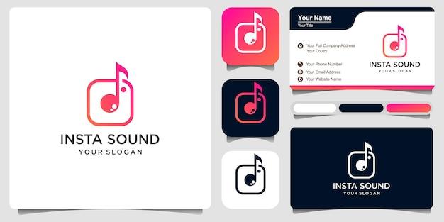 Muzieklogo, met combinatienotitie en applicatie. logo ontwerpsjabloon premium vector