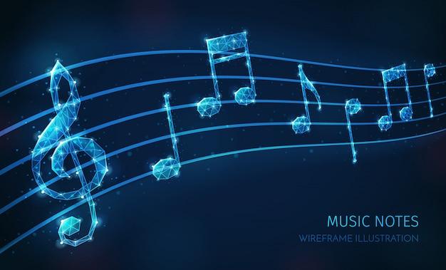 Muziekmedia veelhoekige draadframe compositie met tekst en afbeeldingen van de muzikale staf met sleutel en notities