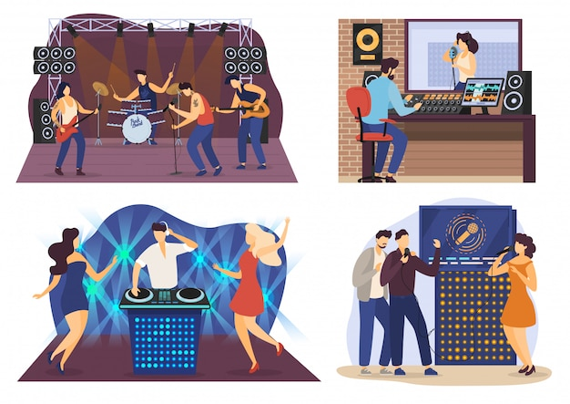 Muziekmensen stripfiguren, rockbandconcert, geluidsopnamestudio en karaokefeest, illustratie