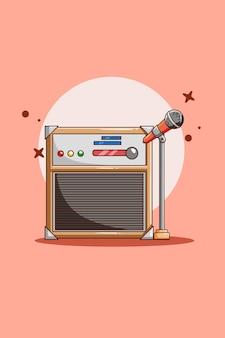 Muziekmotor met microfoon pictogram cartoon afbeelding
