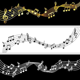 Muzieknoten stromen. doodle muziek opmerking tekening bladpatronen, muzikale symbolen silhouetten modern