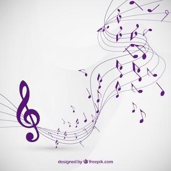 Muzieknotities achtergrond in paarse kleur