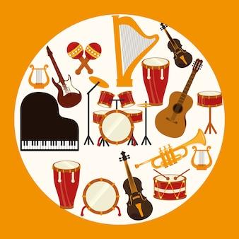 Muziekontwerp over gele vectorillustratie als achtergrond