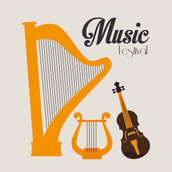 Muziekontwerp over witte vectorillustratie als achtergrond