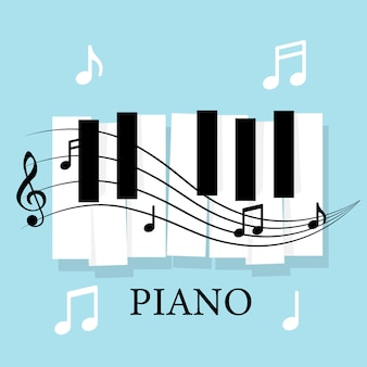 Muziekpiano-toetsenbord met opmerkingen. poster achtergrond sjabloon