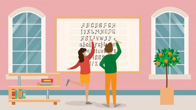 Muziekschool, bord met bladmuziek, karakter mannelijke, vrouwelijke student leren notities, illustratie.