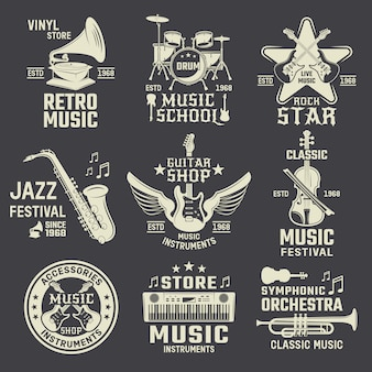 Muziekschool en winkels monochrome emblemen