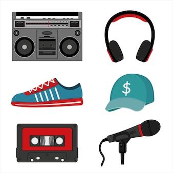 Muziekset voor hiphop, vector geïsoleerde illustratie in cartoonstijl