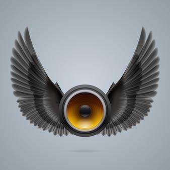 Muziekspeaker met twee vleugels