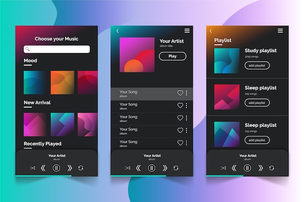 Muziekspeler app interface concept