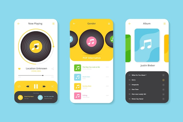 Muziekspeler app-interface sjabloon