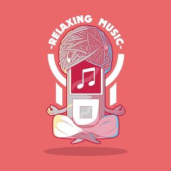 Muziekspeler mediteren illustratie ontwerpconcept
