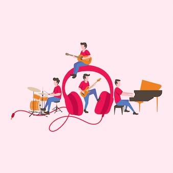 Muziekspeler met muziekinstrumenten