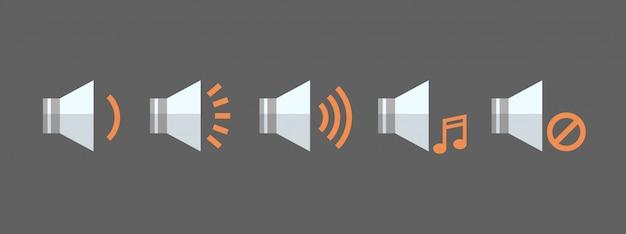 Muziekspeler volume icon set audio listening app interface button