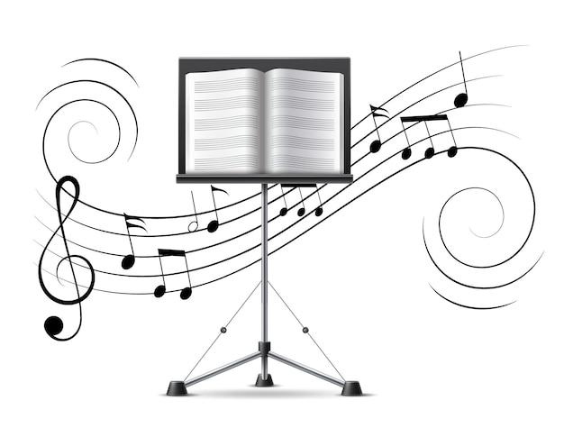 Muziekstandaard met muziekboek op achtergrond van muzieknota's