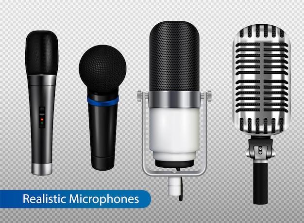Muziekstudio-apparatuur transparante set met verschillende soorten professionele microfoons in realistische stijlillustratie