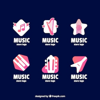 Muziekwinkel logo collectie met plat ontwerp
