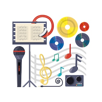 Muzikaal concept met microfoonversterker en muziekblad