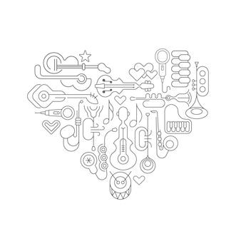 Muzikaal hart lijn kunstontwerp