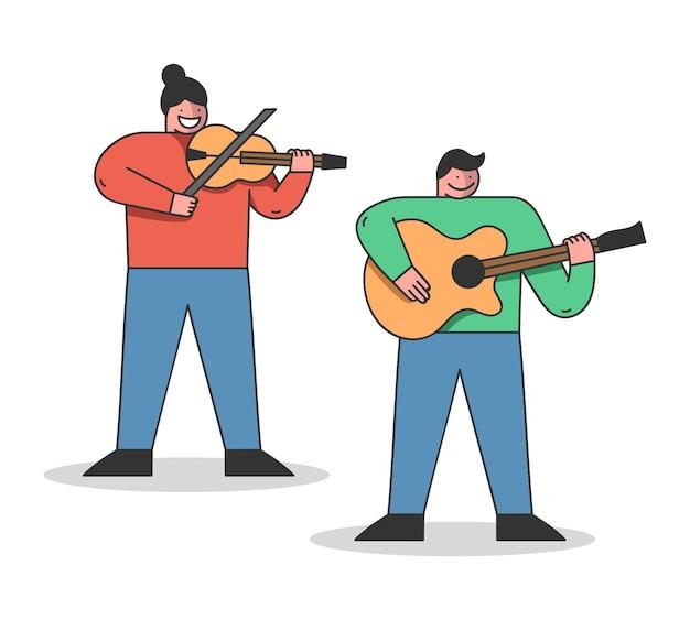 Muzikaal onderwijsconcept. mensen leren verschillende muziekinstrumenten te bespelen.