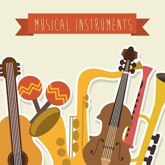 Muzikaal ontwerp over roze achtergrond vectorillustratie