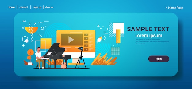Muzikale blogger die online video opneemt voor vlog mannelijke vlogger die klassieke piano blogging concept volledige lengte horizontale exemplaarruimte