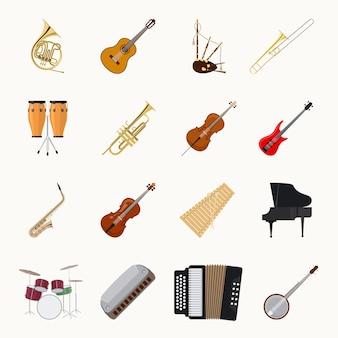 Muzikale instrumentenpictogrammen die op witte achtergrond worden geïsoleerd