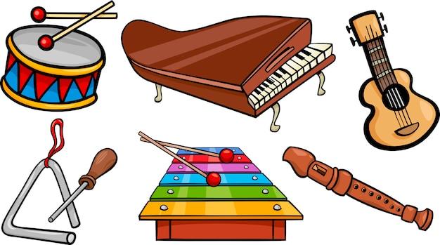 Muzikale objecten cartoon afbeelding instellen