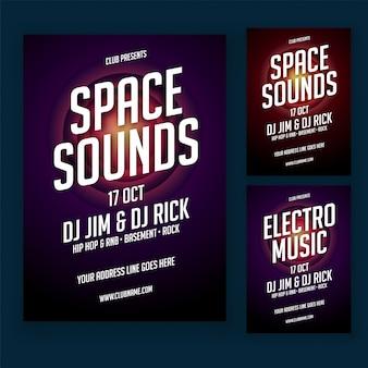 Muzikale partij poster of banner design in twee kleuren stijl en tekst optie.