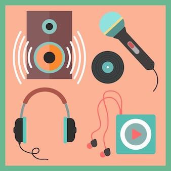 Muzikale pictogrammen instellen in vlakke stijl