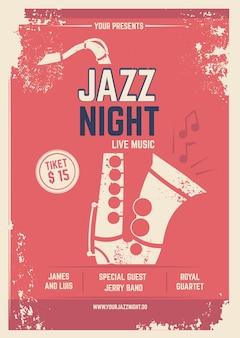 Muzikale poster in retro stijl. uitnodiging voor muziekfestival. sjabloon met plaats voor uw tekst. jazz poster muziek, muzikale band uitnodiging illustratie