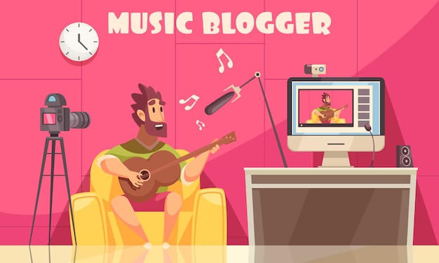 Muzikale video blog achtergrond