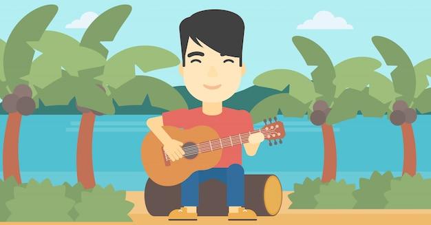 Muzikant die akoestische gitaar speelt.