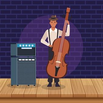 Muzikant die een celloinstrument bespeelt, jazzmuziekband