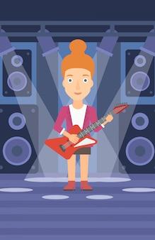 Muzikant die elektrische gitaar speelt.