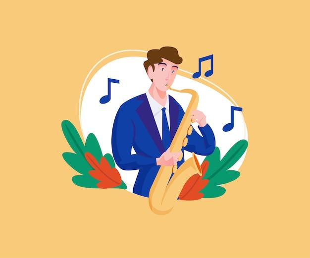 Muzikant die het spelen van een saxofooninstrument uitvoert