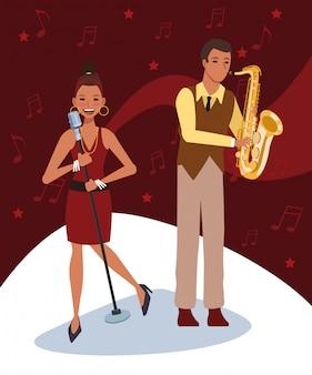 Muzikant en zanger, jazzmuziekband