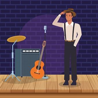 Muzikant in podium en instrumenten, jazzmuziekband