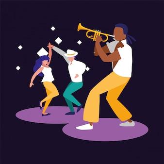 Muzikant man en dansers