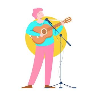 Muzikant met akoestische gitaar tekenstijl cartoon