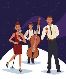 Muzikant met instrumenten en zangeres, jazzmuziekband