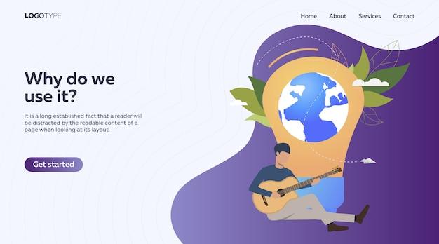 Muzikant speelt akoestische gitaar