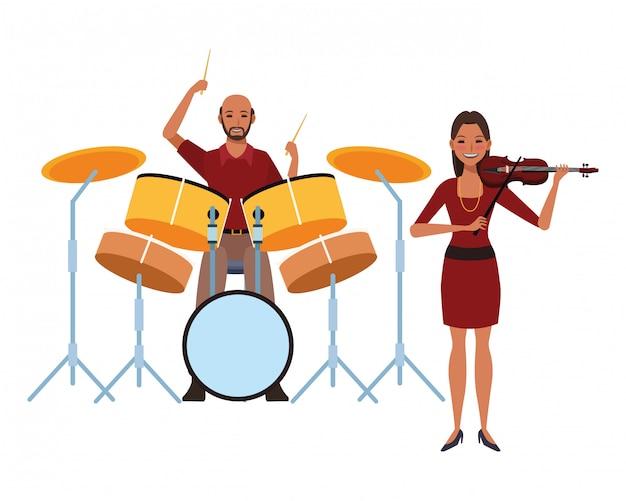 Muzikant speelt drums en viool