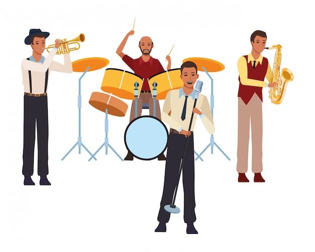 Muzikant speelt in een band