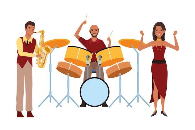 Muzikant speelt saxofoon drums en dansen