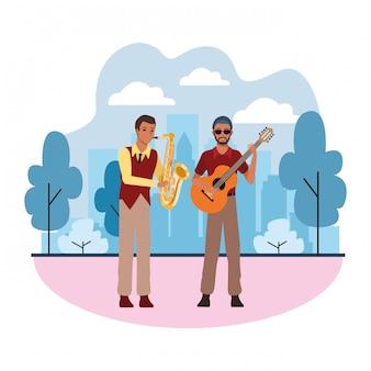 Muzikant speelt saxofoon en gitaar