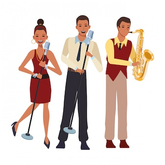 Muzikant speelt saxofoon en zingt