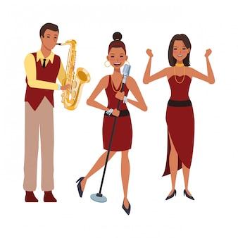 Muzikant speelt saxofoon zingen en dansen