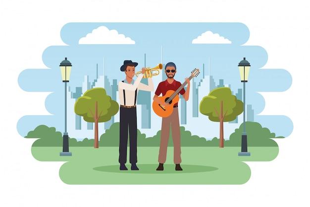 Muzikant speelt trompet en gitaar