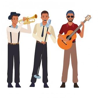 Muzikant speelt trompet gitaar en zingt